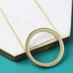 Longline Large Gold Circle Pendant Necklace