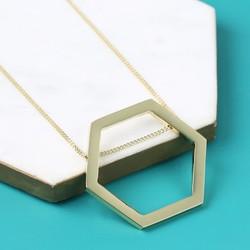 Longline Large Gold Hexagon Pendant Necklace