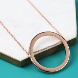 Longline Large Rose Gold Circle Pendant Necklace