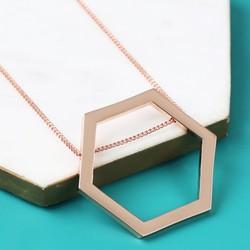 Longline Large Rose Gold Hexagon Pendant Necklace