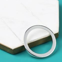 Longline Large Silver Circle Pendant Necklace
