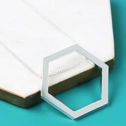 Longline Large Silver Hexagon Pendant Necklace