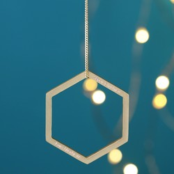 Personalised Geometric Hanging Hexagonal Decoration in Gold