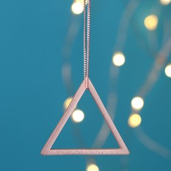 Personalised Geometric Hanging Triangle Decoration in Rose Gold