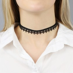 French Lace Daisy Black Choker