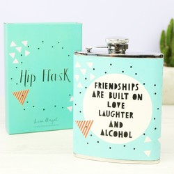 Turquoise Geometric 'Friendships' Hip Flask