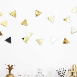 Umbra Set of 16 Brass Confetti Wall Triangles
