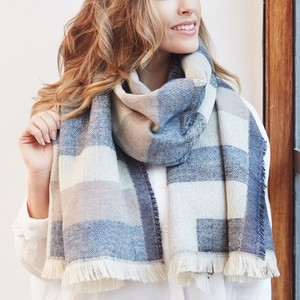 Denim Blue Tartan Wrap Scarf