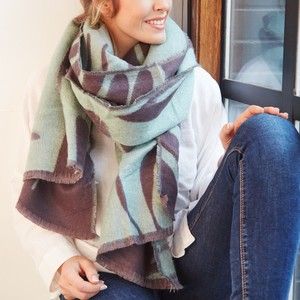 Grey and Green Reversible Botanical Wrap Scarf