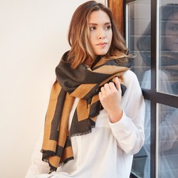 Grey and Camel Reversible Wrap Scarf