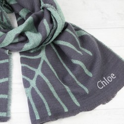 Personalised Grey and Green Reversible Botanical Wrap Scarf