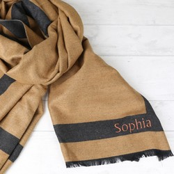Personalised Grey and Camel Reversible Wrap Scarf