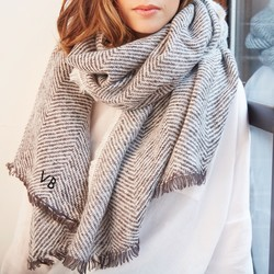 Personalised Grey Herringbone Weave Wrap Scarf
