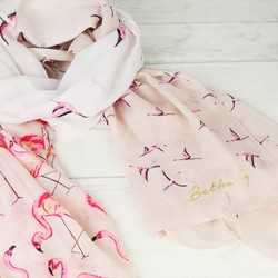 Personalised Pink Flamingo Scarf