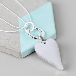 Longline Grey Resin and Silver Heart Necklace