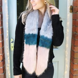 Faux Fur Scarf in Grey, Pink and Teal