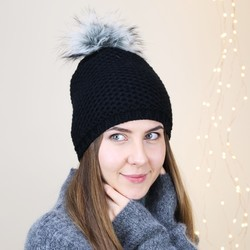Black Interchangeable Pom Pom Hat
