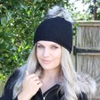 Lisa Angel Ladies' Warm Wool Interchangeable Black Pom Pom Hat