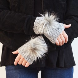 Knitted Grey Pom Pom Hand Warmers