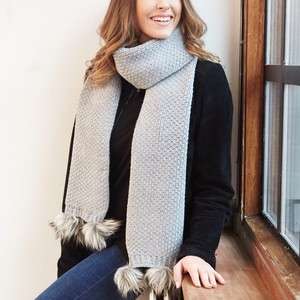 Knitted Grey Pom Pom Scarf