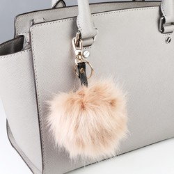 Faux Fur Pom Pom Keyring or Bag Charm in Blush Pink