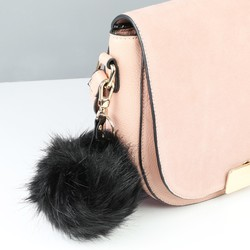 Faux Fur Pom Pom Keyring or Bag Charm in Black
