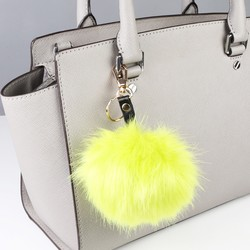 Faux Fur Pom Pom Keyring or Bag Charm in Bright Yellow
