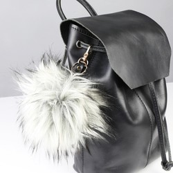 Faux Fur Pom Pom Keyring or Bag Charm in Grey