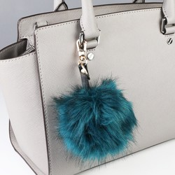 Faux Fur Pom Pom Keyring or Bag Charm in Teal