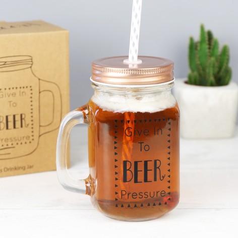 'Beer Pressure' Mason Jar