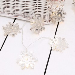 10 Battery Powered LED Silver Snowflake String Lights