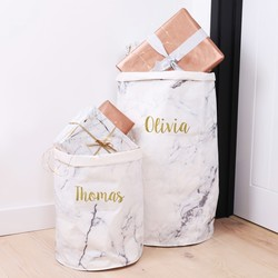 Personalised Round Marble Effect Storage Sack