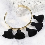 Black Tassel Bangle in Gold
