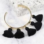 Black Tassel Bangle in Gold