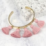Pink Tassel Bangle in Gold