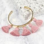 Pink Tassel Bangle in Gold