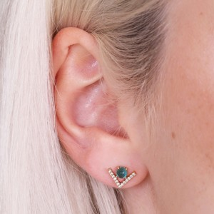 Diamante Chevron Stud Earrings in Green and Gold