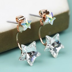 Crystal Stars Jacket Earrings in Rose Gold