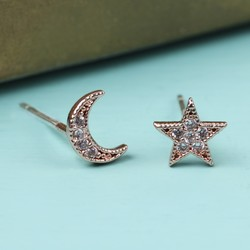 Moon and Star Crystal Stud Earrings in Rose Gold