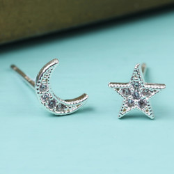 Moon and Star Crystal Stud Earrings in Silver