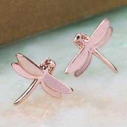 Rose Gold Dragonfly Stud Earrings