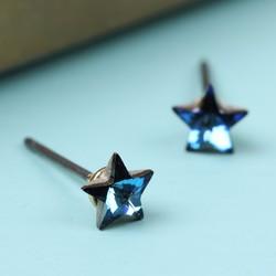 Tiny Blue Crystal Star Stud Earrings