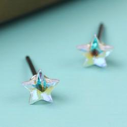 Tiny Iridescent Crystal Star Stud Earrings