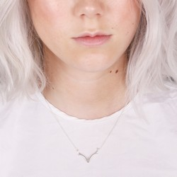 Delicate Chevron Antlers Necklace in Silver