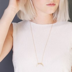 Long Gold Curved Horn Necklace