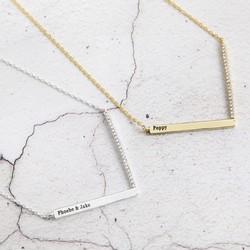 Personalised Diamante Chevron Necklace