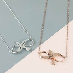 Personalised Infinity Arrow Pendant Necklace