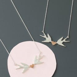 Personalised Mixed Metal Swallows Heart Necklace