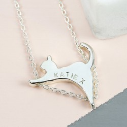 Personalised Silver Cat Pendant Necklace