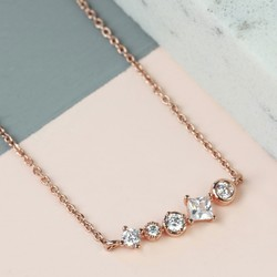 Delicate Curved Crystal Bar Necklace in Rose Gold